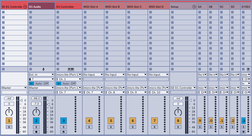 The Live setup contains a Main Group that contains Tracks and another sub-Group for Setup.