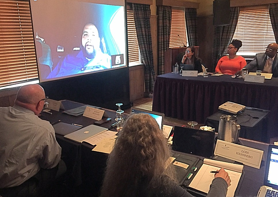 The Synod Mission & Ministries Commission video-conferenced with the Rev. Edwin González-Castillo, Stated Clerk of the Presbiterio de San Juan, about conditions in Puerto Rico following Hurricane Maria at the October 2017 meeting.