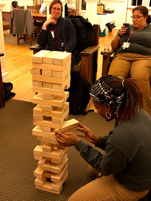 Giant Jenga proved to be a crowd pleaser.