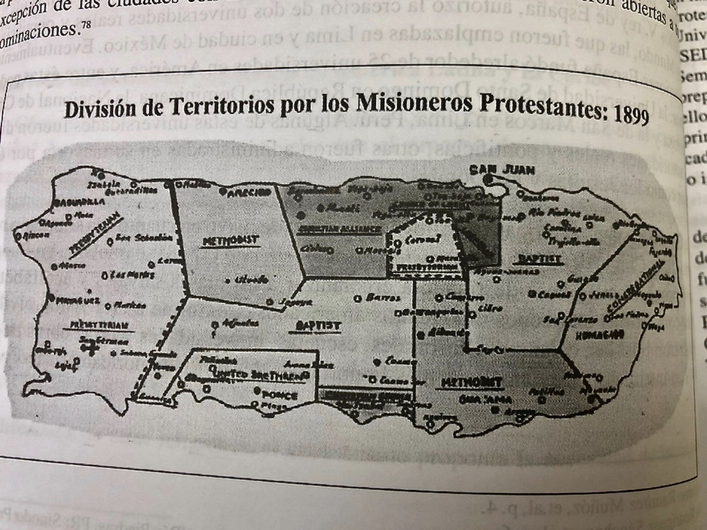 A historic map of how the various protestant denominations divided the island for missionary work.