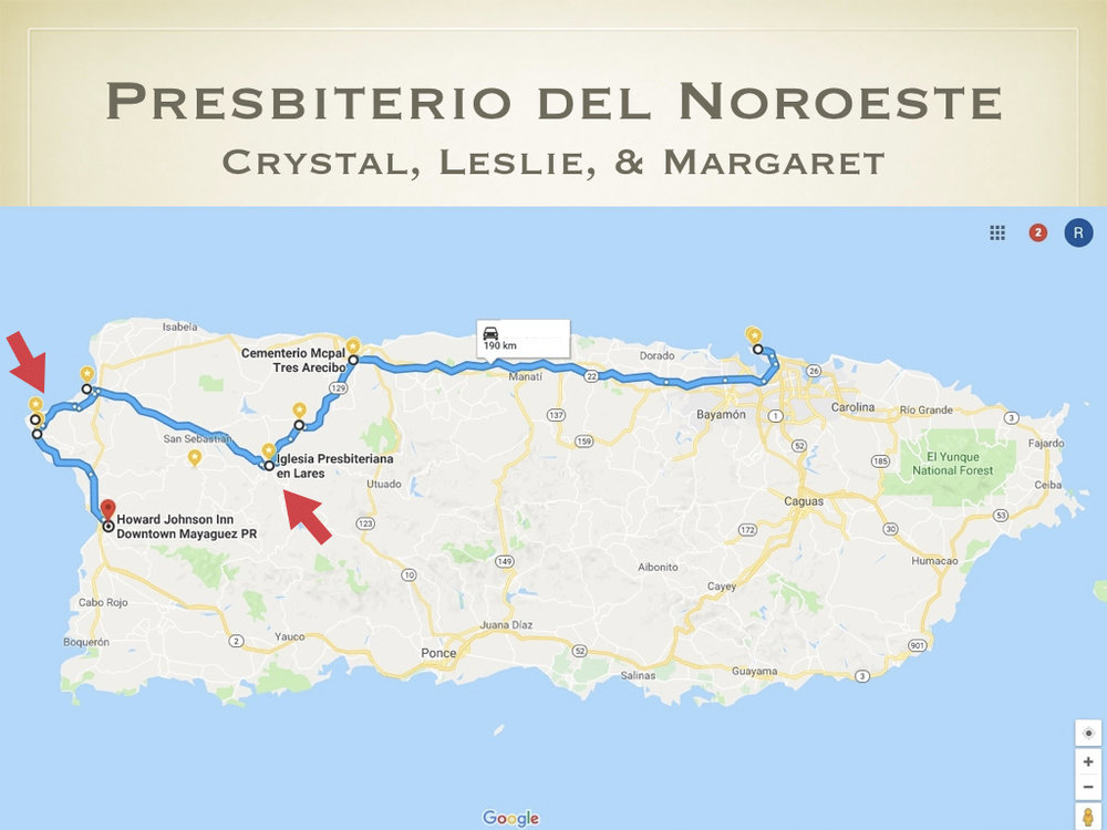 From Lares, Crystal, Leslie, & Margaret followed Dagmary toward the northwest coast to visit other communities in the presbytery.