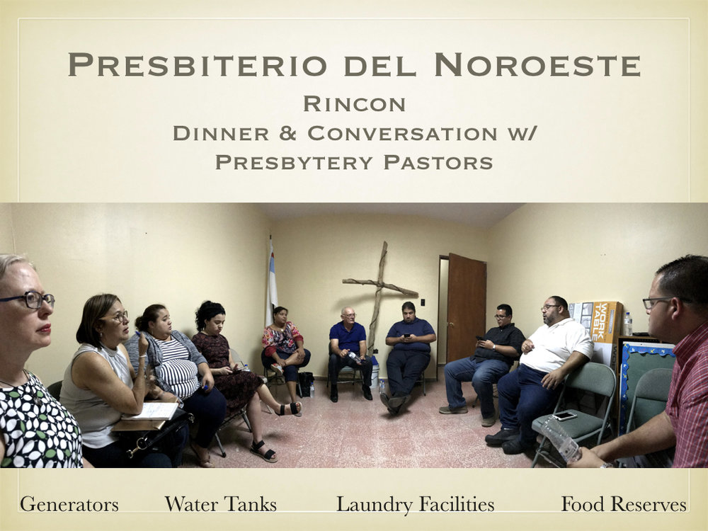 Following their visit to Puntas, the team traveled to Rincon for the final gathering of the day. There they shared dinner with members from across the presbytery, and met with pastoral leaders to hear more specifically about their hurricane-related experiences, their efforts to respond to the needs of their communities, and their recommendations for how the Synod of the Northeast might most helpfully partner with them in this work.