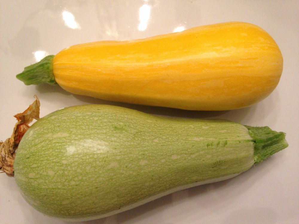 Randall's homegrown goodness -Golden Zebra and Magda zucchinis!