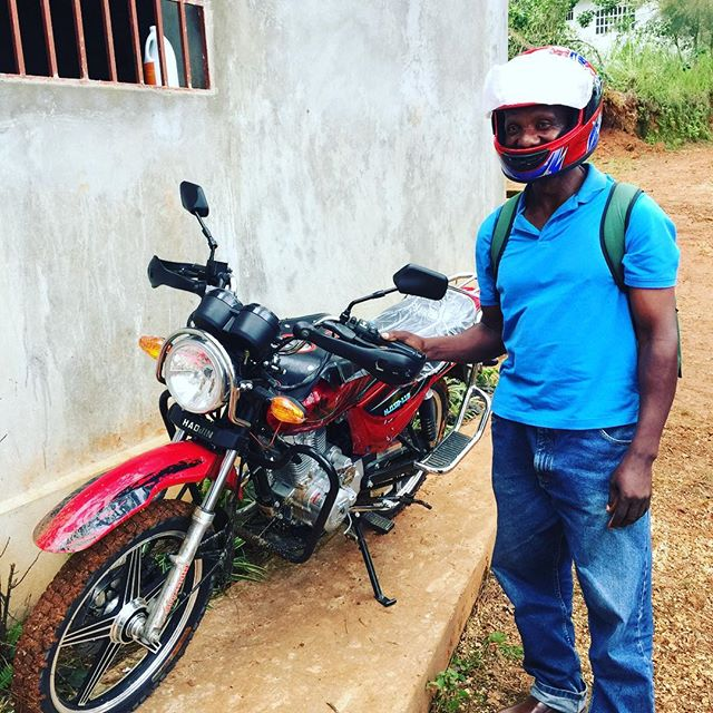 A new wouj motosiklet (red motorcycle)for Pastor Elise to reach outlying communities that he ministers to.