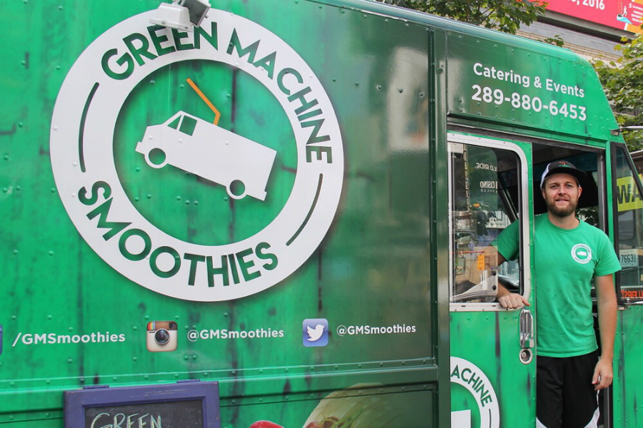 Mike Saratsiotis, 27, owner of Green Machine Smoothies, was one of the vendors at the 10th Annual Manifesto Festival Sunday.