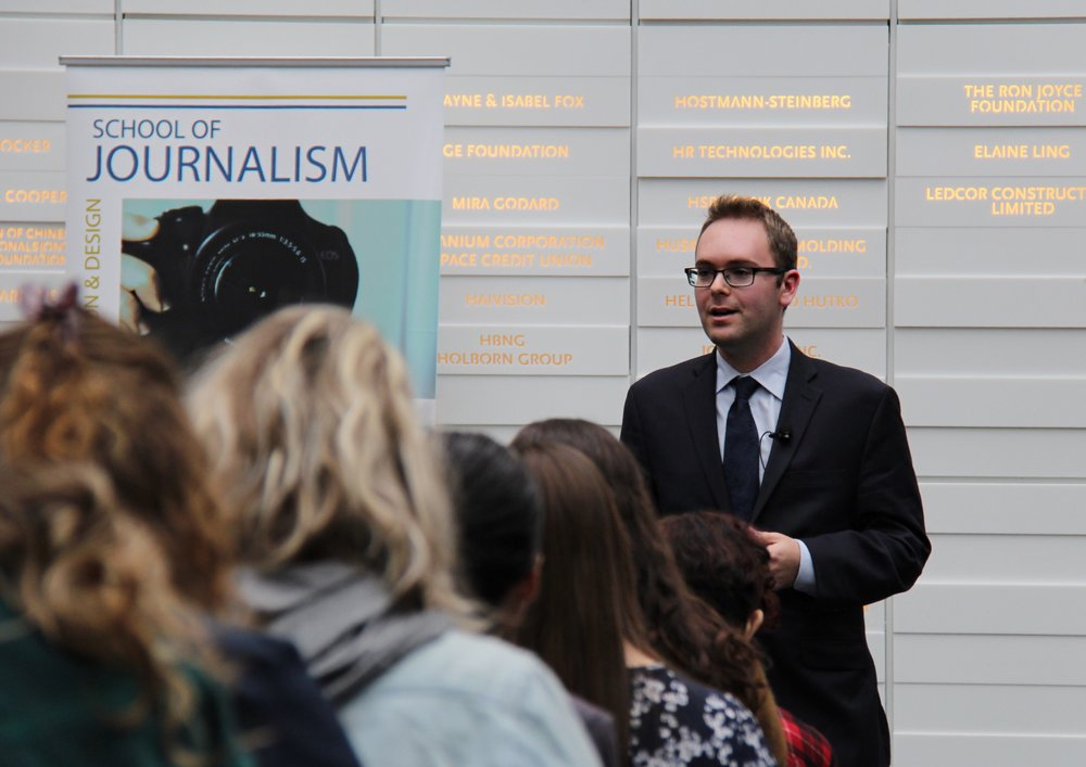Daniel Dale, the Toronto Star's Washington D.C. correspondent, speaking at the Sears Atrium at Ryerson University on Feb. 15, 2017.