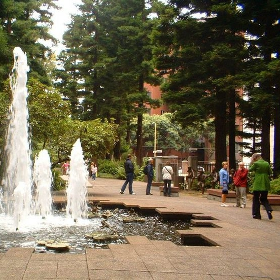 We meet in front of this fountain in the Transamerica Redwood Park.