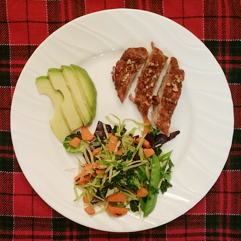 "A typical ""challenge-friendly"" meal: lean protein (pecan-crusted pork), non-starchy veggies & healthy fat"