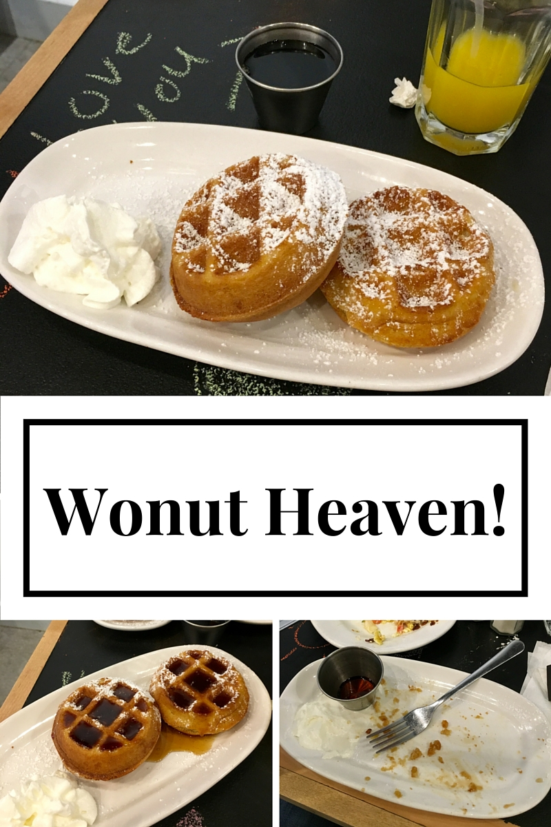 Ever hear of a Wonut? Me neither! This is technically not a wonut, but they  were  the most delicious gluten free waffles EVER! And how fun that I can write love notes to the hubby on the table??
