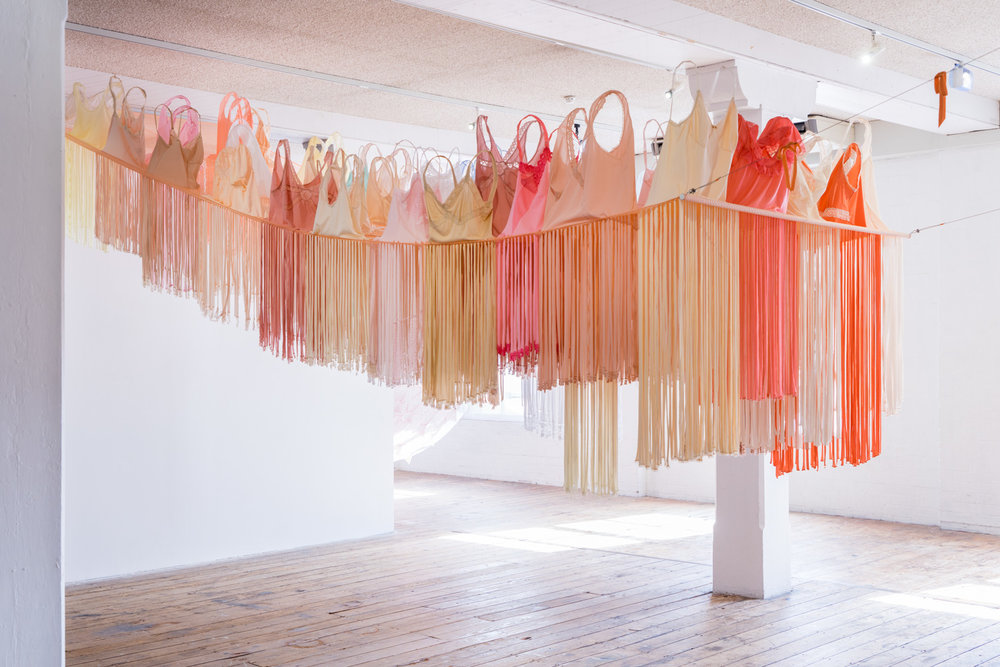 The Sleepover , 2018, found nighties and slips, found synthetic fabric and cotton ribbon, milliner's wire, thread (with assistance from Melanie Ward, Monika Holgar and Kate Woodcroft) 670cm x 280cm x 210cm.   You are welcome to gently touch and walk through this sculpture.