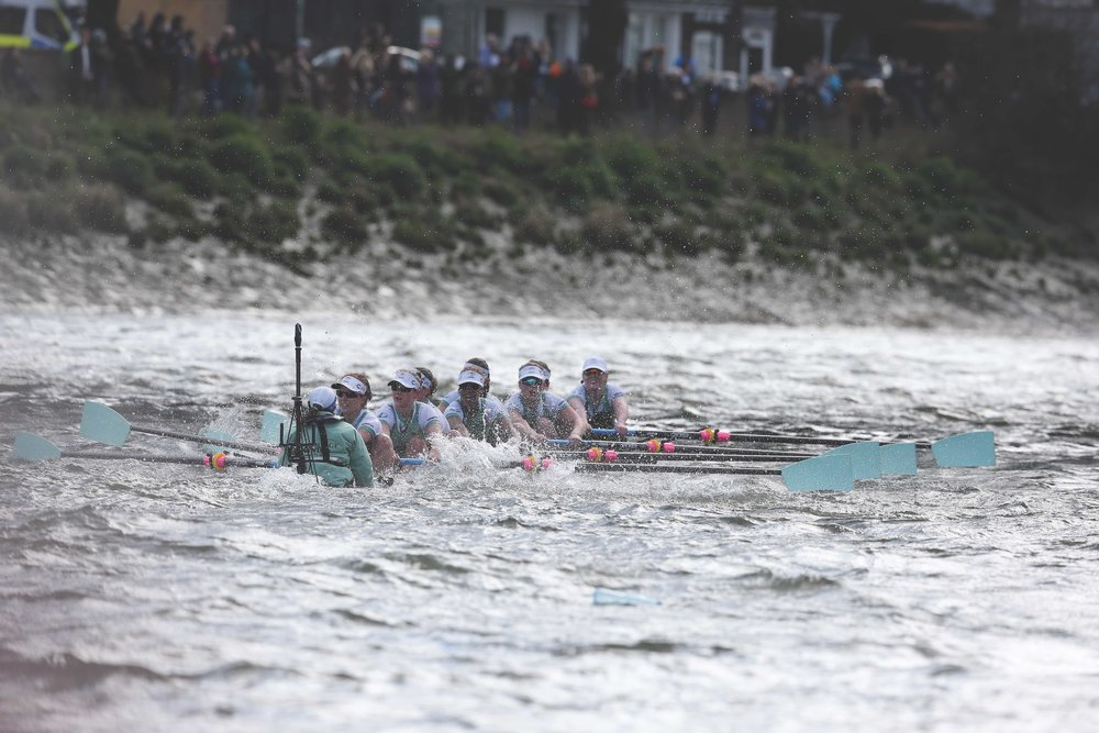 Rosemary Ostfeld coxing in the 2016 Boat Race on the Thames in England