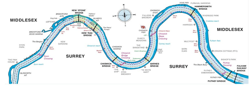 The University Boat Race course map courtesy of The Thames Regional Rowing Council