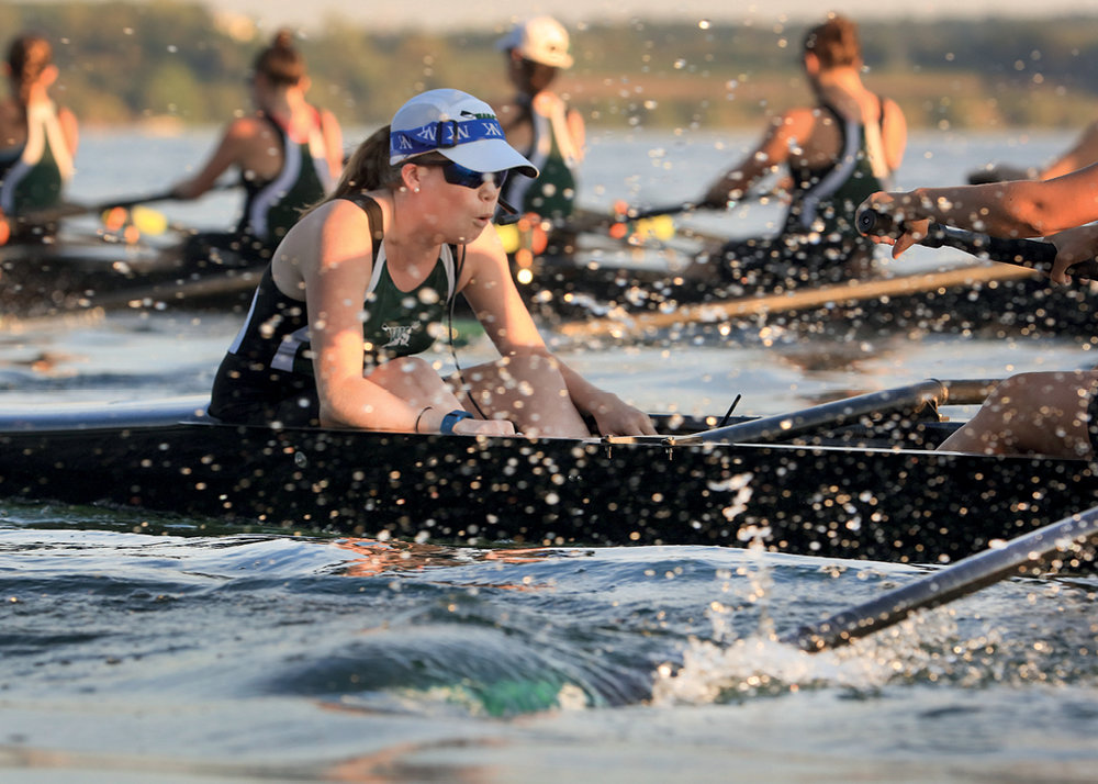 Hannah Glenshaw, the William Smith 1V coxswain, performs during a practice