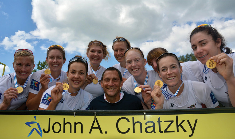 John Chatzky with the USRowing Women's 8+