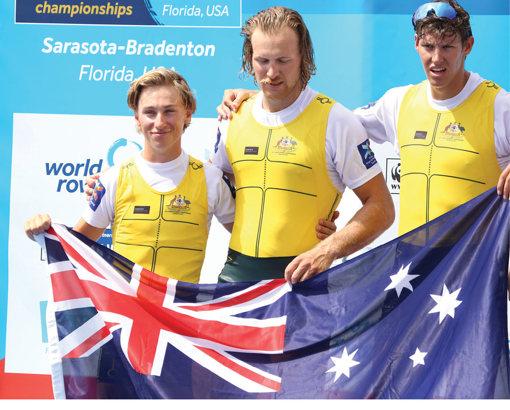 Rook, Angus Widdicombe and Darcy Wruck represent Australia on the medal stand.