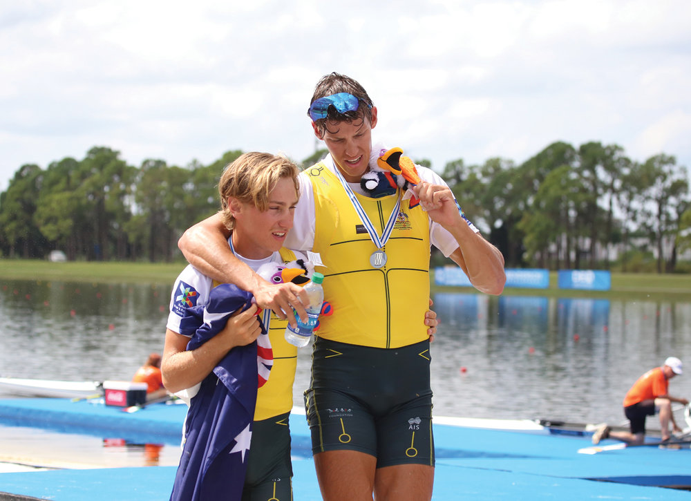 Rook and teammate Darcy Wruck after their silver-medal performance in the coxed pair.