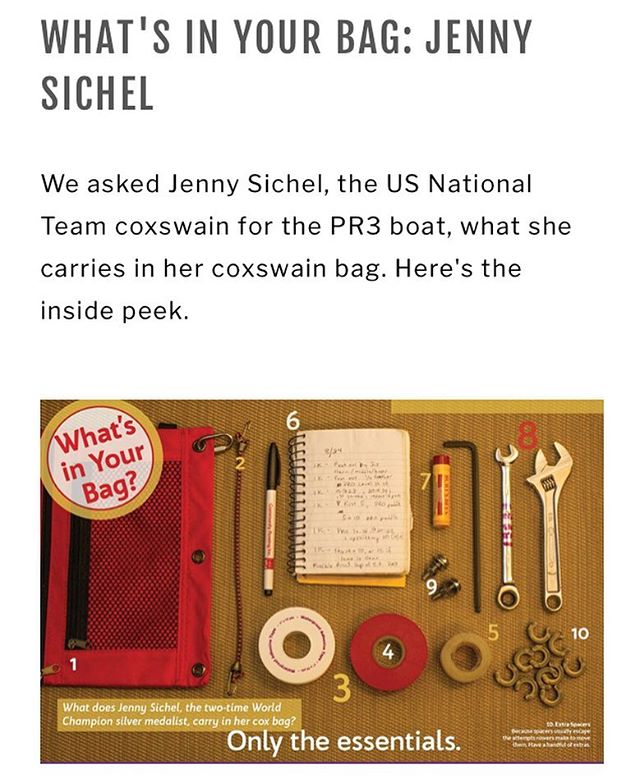 #tbt to #issue1 What's in Your Bag: Jenny Sichel - national team coxswain @jsichrockin shares what she brings in the boat - full article on our website - link in bio #coxkit #beprepared #whatsinyourbag #coxing #rowing #usrowing