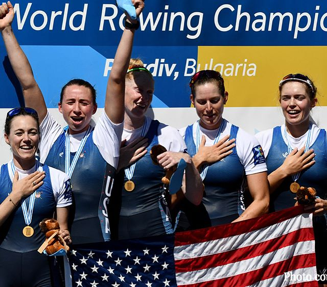 Sweet, sweet victory for the U.S. W8+ at the 2018 World Rowing Championships! Congratulations to coxswain Katelin Guregian and the winning crew! 🇺🇸🥇🇨🇦🥈🇦🇺🥉 — 📷 photos courtesy @usrowing
