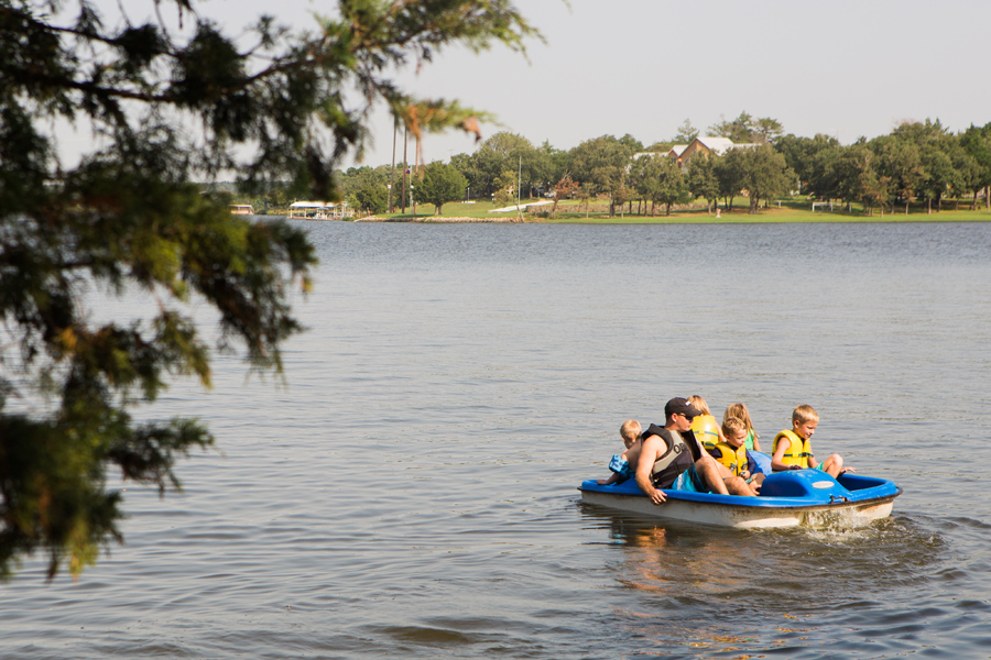 September 4: How many kiddos can you fit on a paddleboat with Uncle Rudy?
