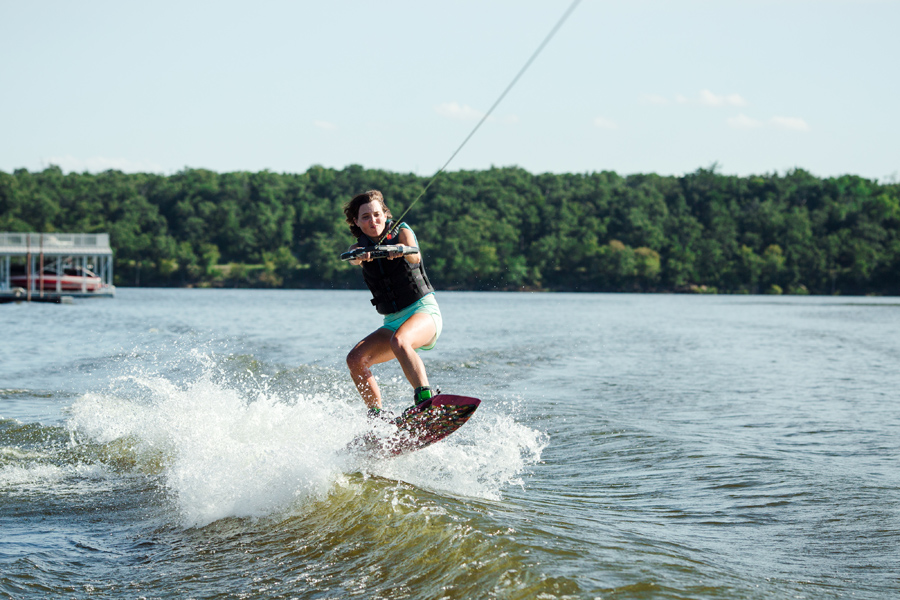 September 17: Photo by Ty. I am finally getting consistent at landing *small* jumps on the wakeboard. Ty surprised me with a properly fitting board, and it's made a huge difference.