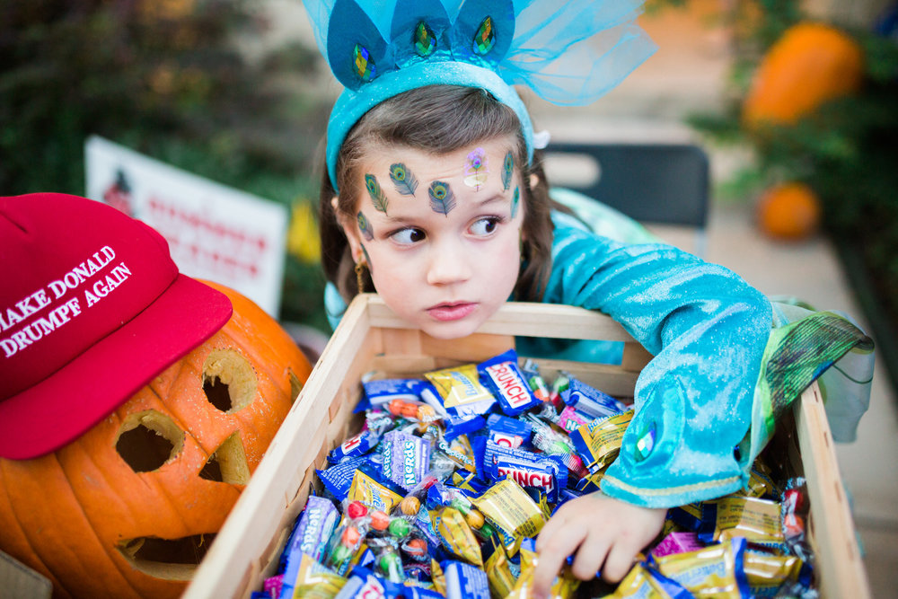 October 31: I spy a peacock princess raiding the trick-or-treat giveaway stash.