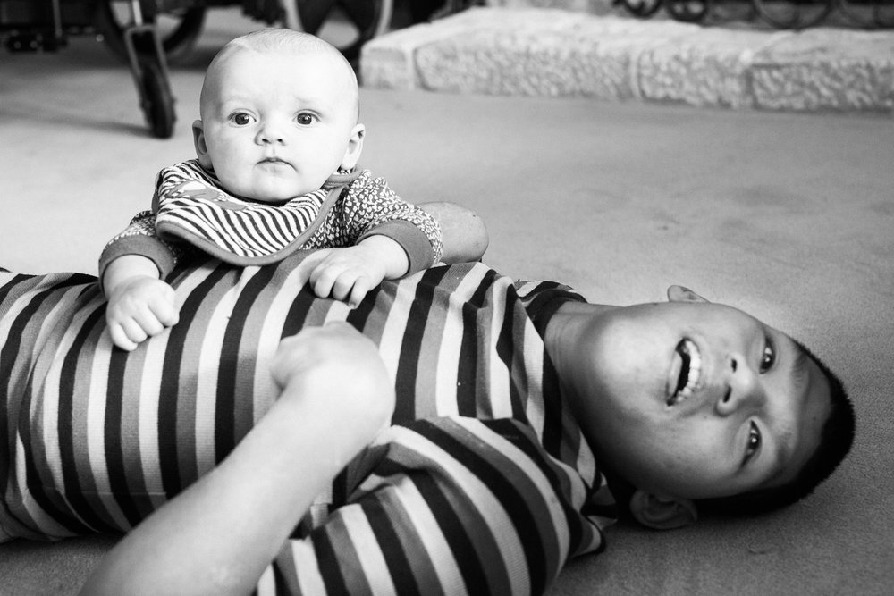 November 24: Thanksgiving floor time hangs for Jameson and Sam.