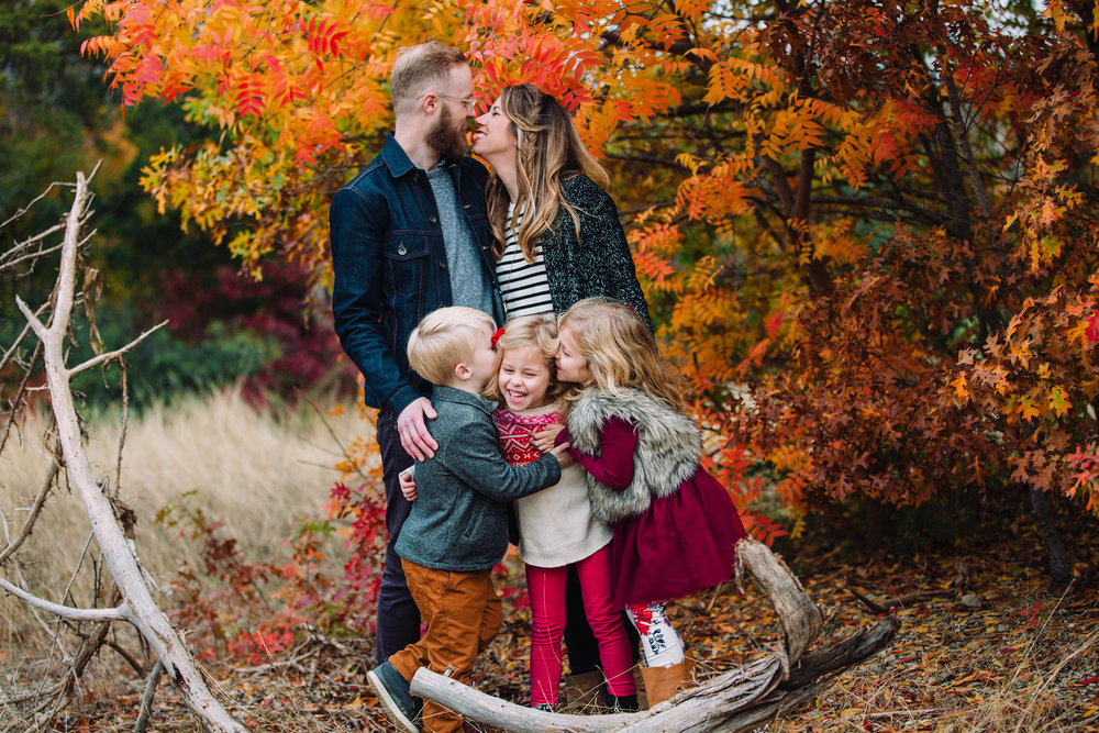 December 6: Family photos with the triple threat. We were so late on holiday photos this year, but that meant we got great fall color.
