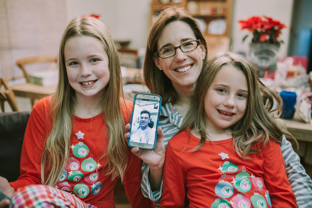 December 25: The girls' letters to Santa asked for only one thing- their daddy home. His deployment ends in March, so we Face-timed our Christmas morning.