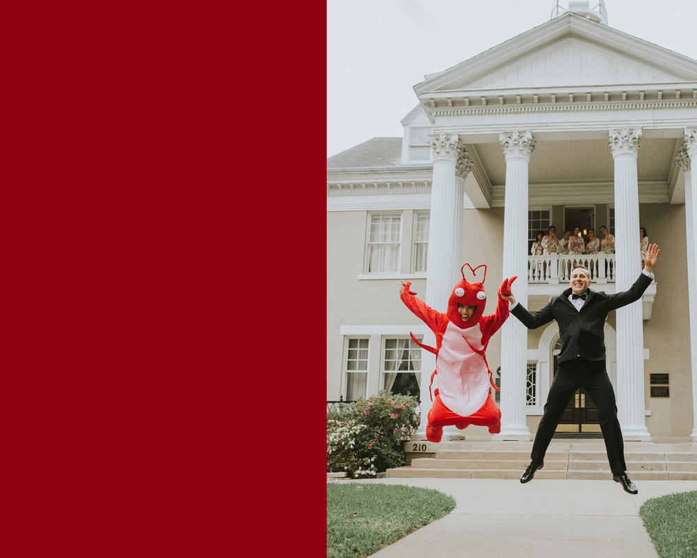 April 1: An April Fool's wedding that included a bride wearing a lobster costume for a first look? Perfection. I met Jenny at an American Heart Association event last year and love that I got to help capture her and Josh's day. They're vibrant and smart and so much fun.
