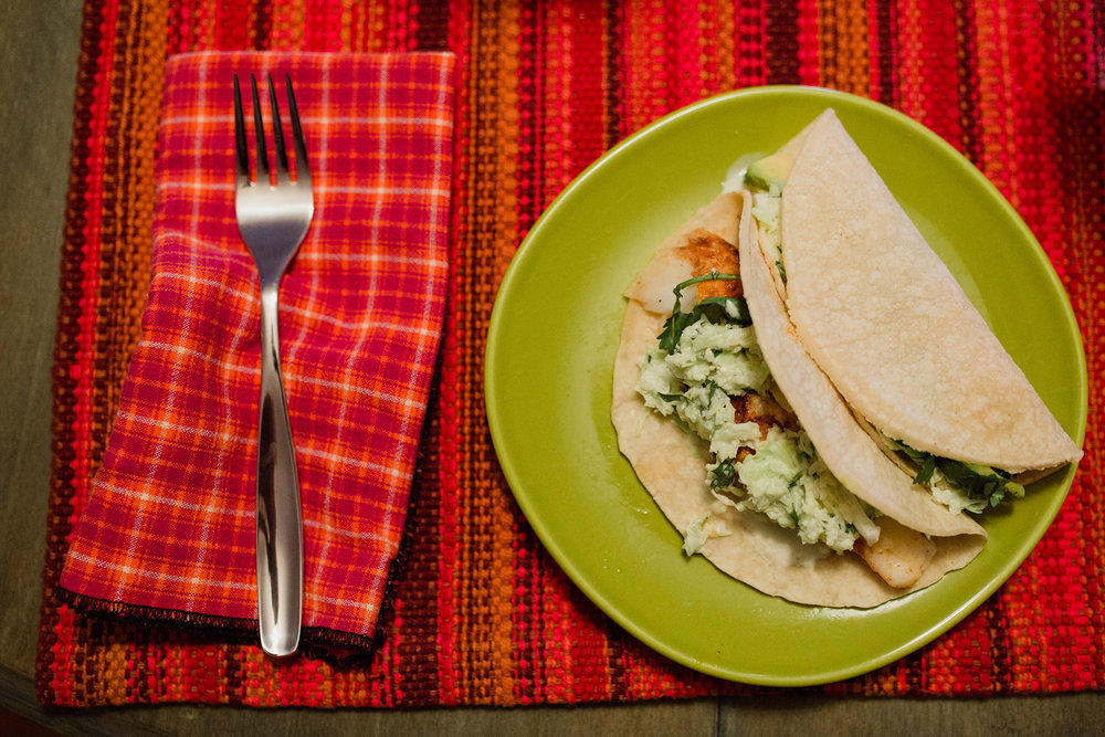 August 9: August's rhythm contained lots of dinners in with fresh fish and veggies and the 9th looked like tacos after work.