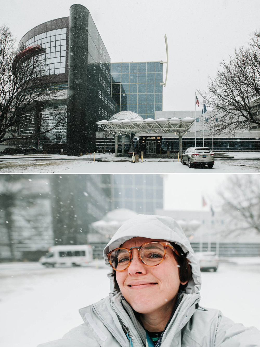 February 7: Snow day seen from the medical center... and a selfie.