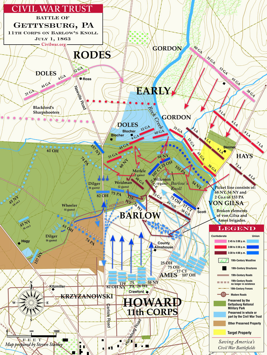 Map Showing the 119th New York on Barlow's Knoll on the 1st day of Gettysburg (July 1, 1863).