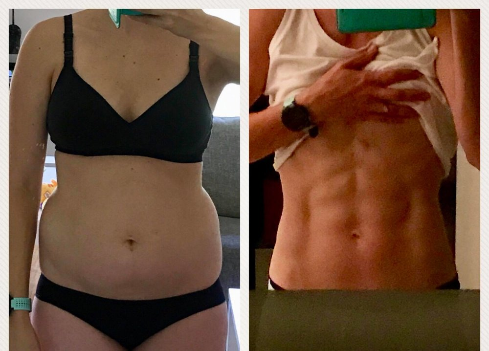 Britt, March 2019 - This is one of our Super Fit Mums Britt.She started with us in June 2018, and is still with us today continuing to work on her goals and make daily progress towards her healthiest, happiest, strongest and fittest self!Down 9kgs, oh and abs, in 9 months!