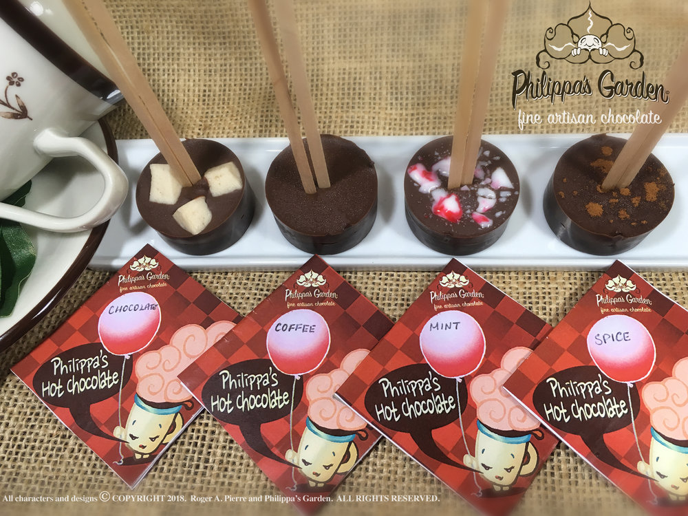 PHILIPPA'S HOT CHOCOLATE   A combination of our 40% and 80% dark chocolates with a special touch.  Place into a mug o steaming hot milk, stir and enjoy.