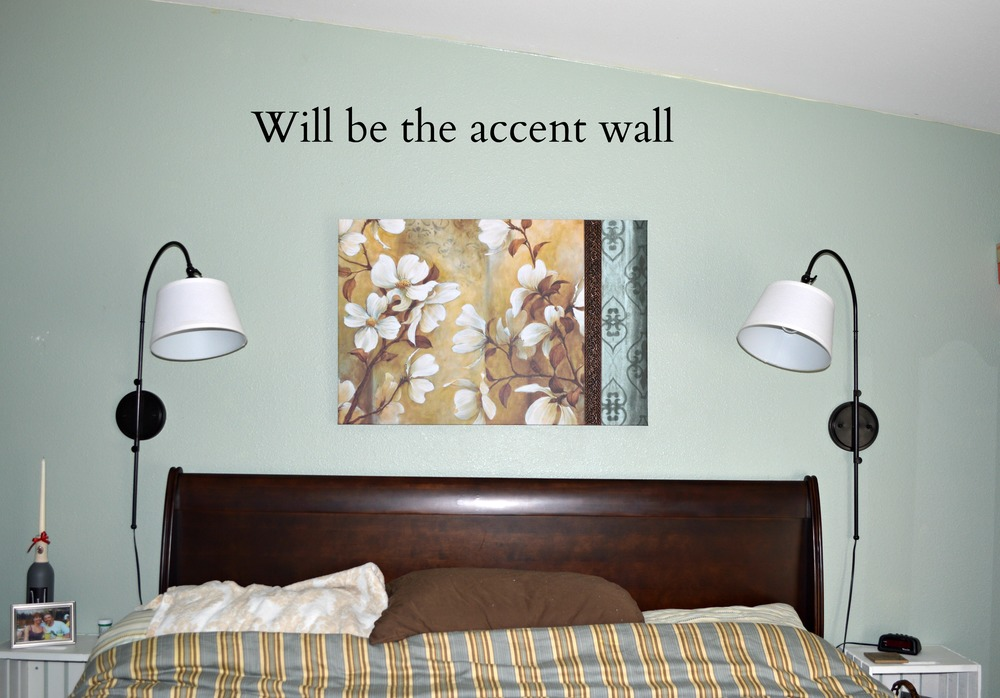 planning the accent wall in master bedroom make over project