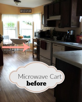 microwave cart before it gets made over and repurposed