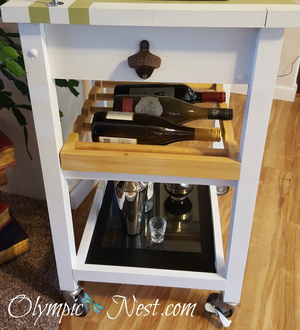Repurposed kitchen cart to bar cart