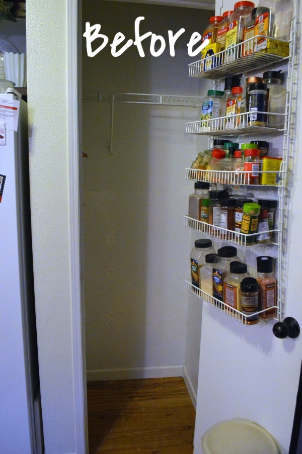 My small pantry where I have already removed two of the wire shelving units.