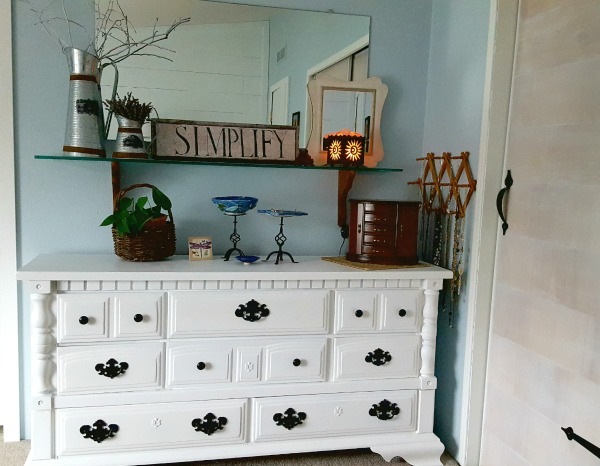 chest dresser painted white with black hardware
