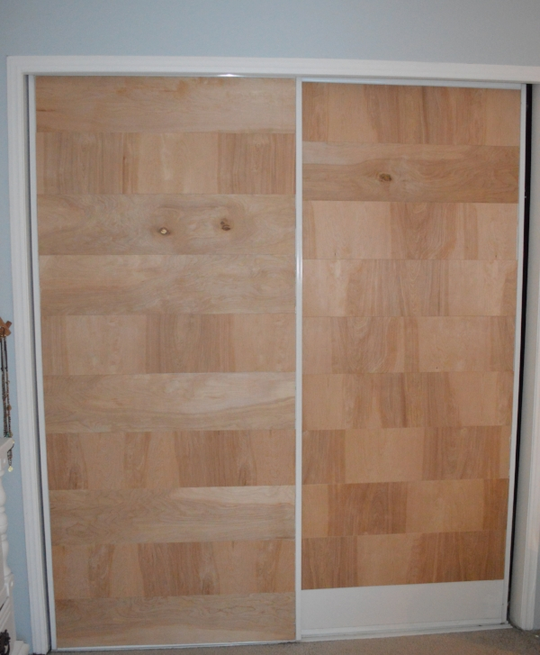 use underlayment plywood to update bypass doors
