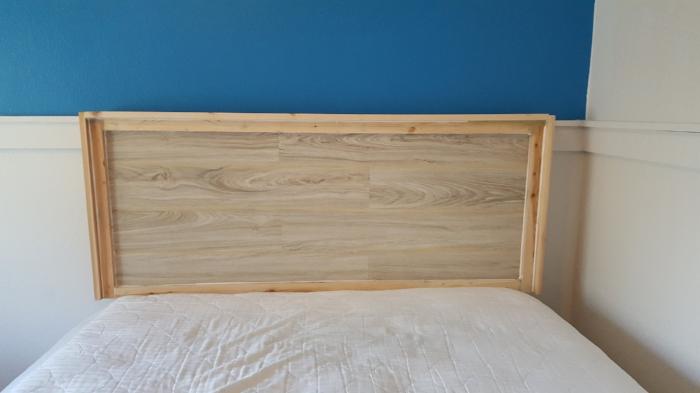 make a headboard with a door and laminate flooring .jpg
