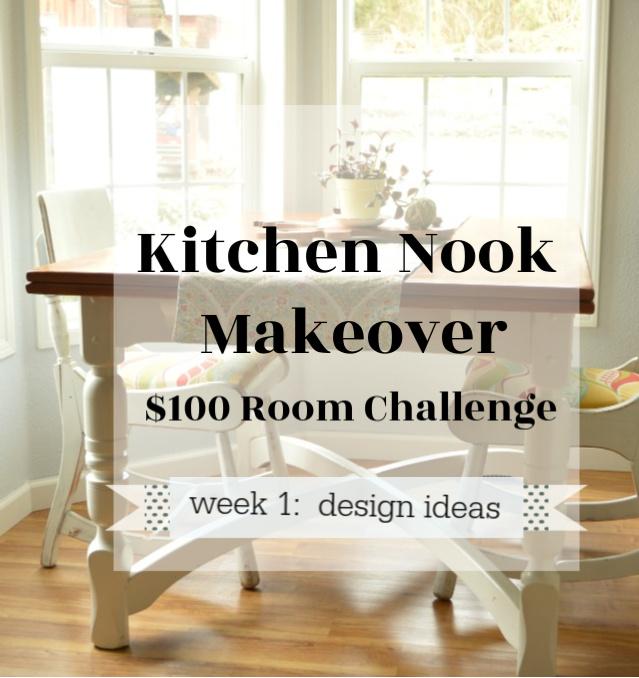 Small kitchen nook makeover: $100 room challenge — K\'s ...