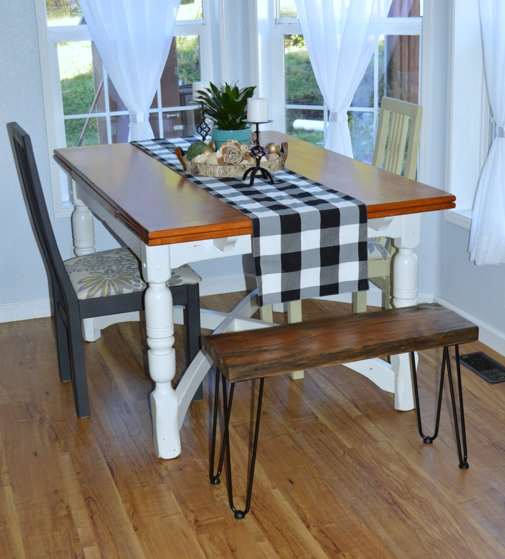 add a diy rustic bench to your kitchen table.jpg