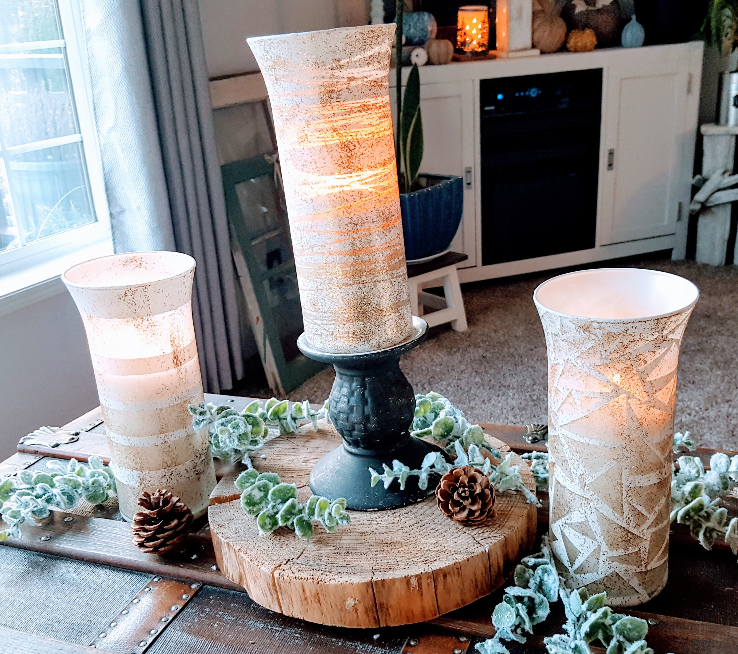 Dollar Tree Hack Diy Glass Vase Turned Into Glam Hurricane Candle Holder K S Olympic Nest