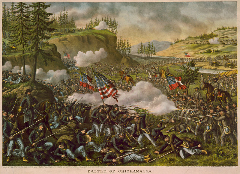 Battle of Chickamauga (lithograph by Kurz and Allison, 1890). Library of Congress.