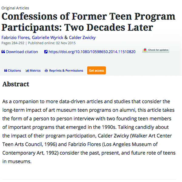 Confessions of Former Teen Programs Participants: Two Decades Later