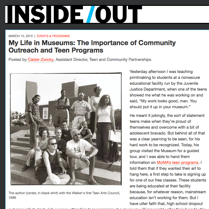 My Life in Museums: The Importance of Community Outreach and Teen Programs