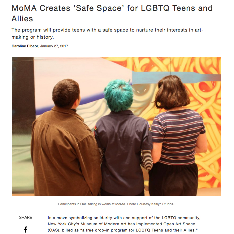 MoMA Creates 'Safe Space' for LGBTQ Teens and Allies