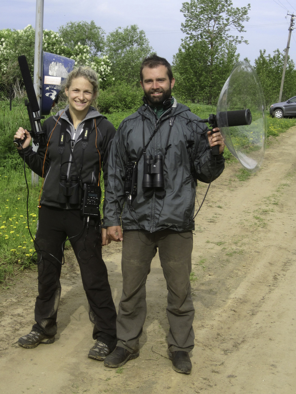 Liz and I, geared up for some song recording in a village 2 hours north of Moscow