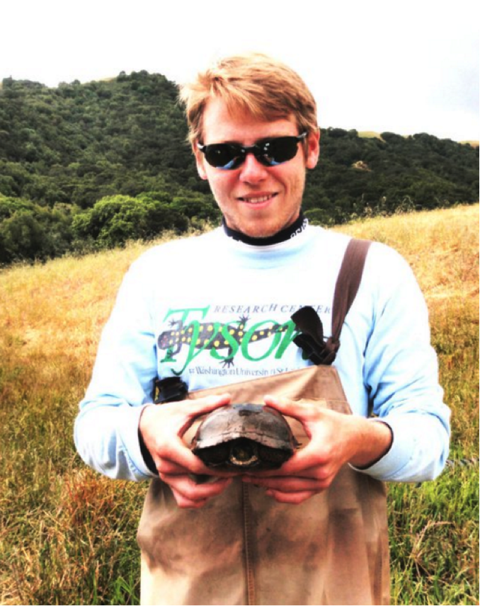 Here's Joe conducting disease surveys in wetlands of the Oak-chaparral ecoregion in California. I think Joe is much happier than the pond turtle.